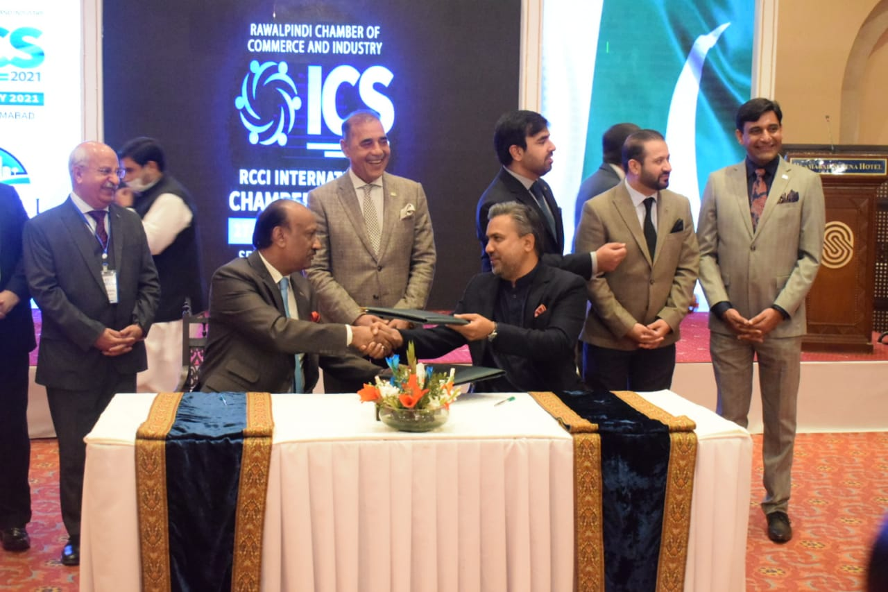 MOU Signing Ceremony between Sialkot Chamber and Rawalpindi Chamber on the occasion of International Chambers Summit 2020
