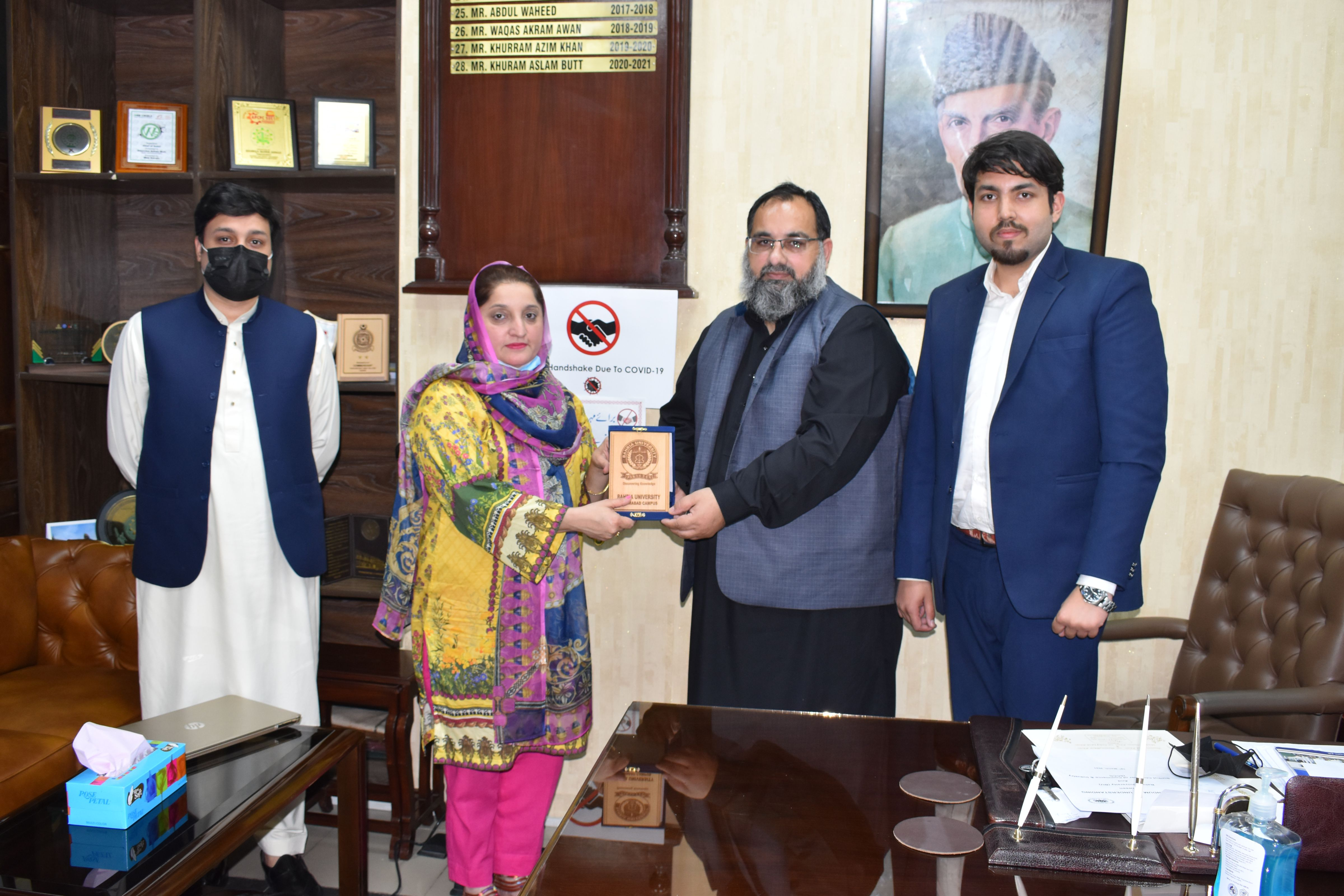 On March 19, 2021, Mr. Khuram Aslam, Senior Vice President, Sialkot Chamber had a meeting with Delegation of Bahria University.