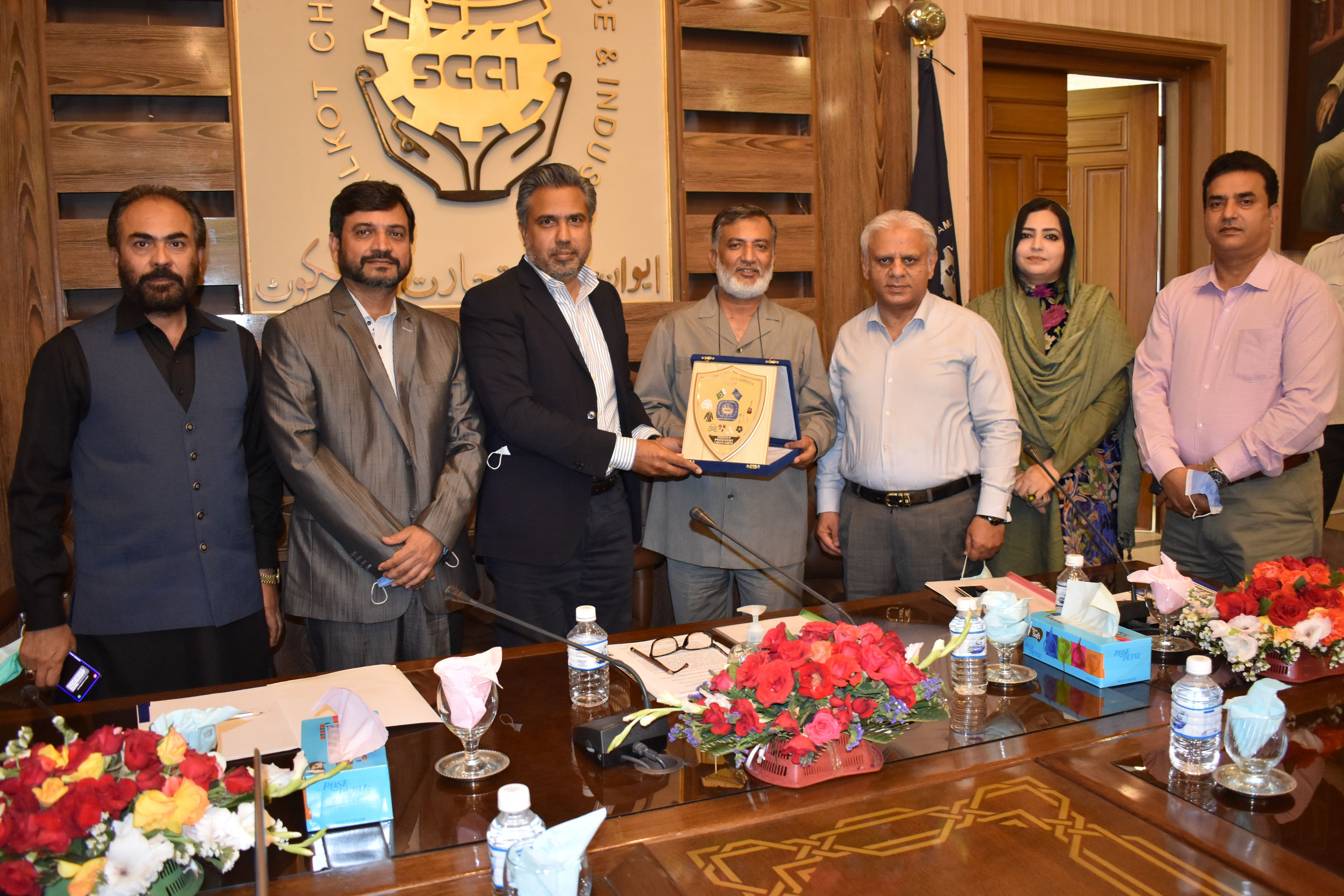"""On April 8, 2021, Mr. Qaisar Iqbal Baryar, President, SCCI chaired a seminar on """"CHINA PAKISTAN ECONOMIC CORRIDOR (CPEC) Project, Prospects and Opportunities"""" at Sialkot Chamber in collaboration with """"Think Pakistan. President SCCI praised the CPEC project and also said that Sialkot Industrial Zone would be established within Golden Economic Triangle region comprising of Gujranwala, Sialkot & Wazirabad and Gujrat, which would have all the facilities and amenities for exporters which would be connected with CPEC.  During the seminar, Miss Ayesha Syed, CEO, Skillerz Connect and Dr. Abdullah Yasir, GC University Lahore briefed about CPEC as a framework of regional connectivity. Dr. Ishtiaq Gondal, University of Punjab, Lahore mentioned that under the CPEC project, China has intended $76 billion dollar investment to rapidly upgrade Pakistan's required infrastructure and strengthen its economy by the construction of modern transportation networks, numerous energy projects, and special economic zones.  President SCCI said that participants would have gained insights from the seminar about the strategic and economic significance of China-Pakistan Economic Corridor (CPEC) for both countries."""