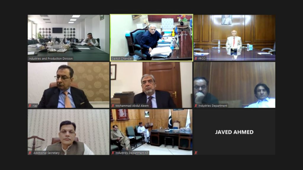 """On June 16, 2021, Mr. Ansar Aziz Puri, Vice President, SCCI attended a virtual meeting on """"Public and Private Sectors Cooperation for National COVID-19 Vaccination drive"""" under the Chairmanship of Mr. Kamran Ali Afzal, secretary, Industries & Production division. Secretaries from all provincial Industries & Commerce departments and office bearers of FPCCI, overseas Investors Chambers of Commerce & Industry and Lahore, Karachi, Faisalabad Chambers of commerce also participated in the session."""
