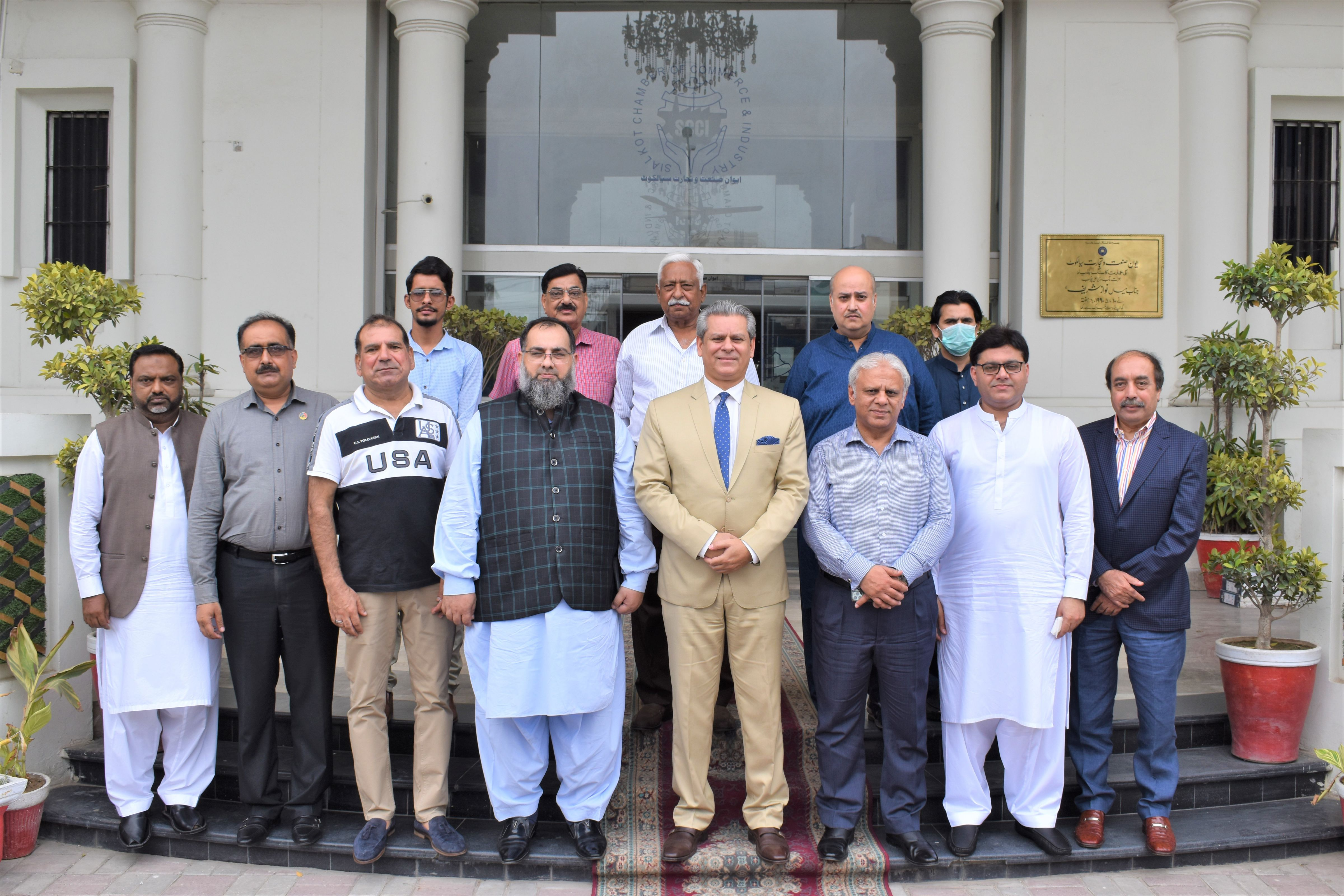 """On July 10, 2021, H. E. Mr. Hamid Asghar Khan, Ambassador of Pakistan designated to the Kingdom of Morocco and the Republic of Liberia visited Sialkot Chamber of Commerce and Industry.   H.E. Mr. Hamid Khan and Mr. Ijaz Khokar, Former Chairman, Pakistan Readymade Garments Manufacturers and Exporters Association (PRGMEA) was received by Mr. Qaiser Iqbal Baryar, President accompanied by Mr. Khuram Aslam, Senior Vice President, Mr. Ansar Aziz Puri, Vice President and Members of Executive Committee SCCI.   During the meeting, H.E. appreciated the role of Sialkot in the Economic Development of the Country and having maximum share in the total export of Pakistan. Mr. Ambassador assured his full facilitations and availability in providing a display platform for exporters of Sialkot to showcase their products in prominent markets in Rabat and Marrakesh and gain global recognition. President SCCI appreciated the proposal of the Ambassador and requested H.E. Mr. Hamid A. Khan to form a committee """"LOOK AFRICA"""" for promotion of trade in African countries using Made in Sialkot products."""