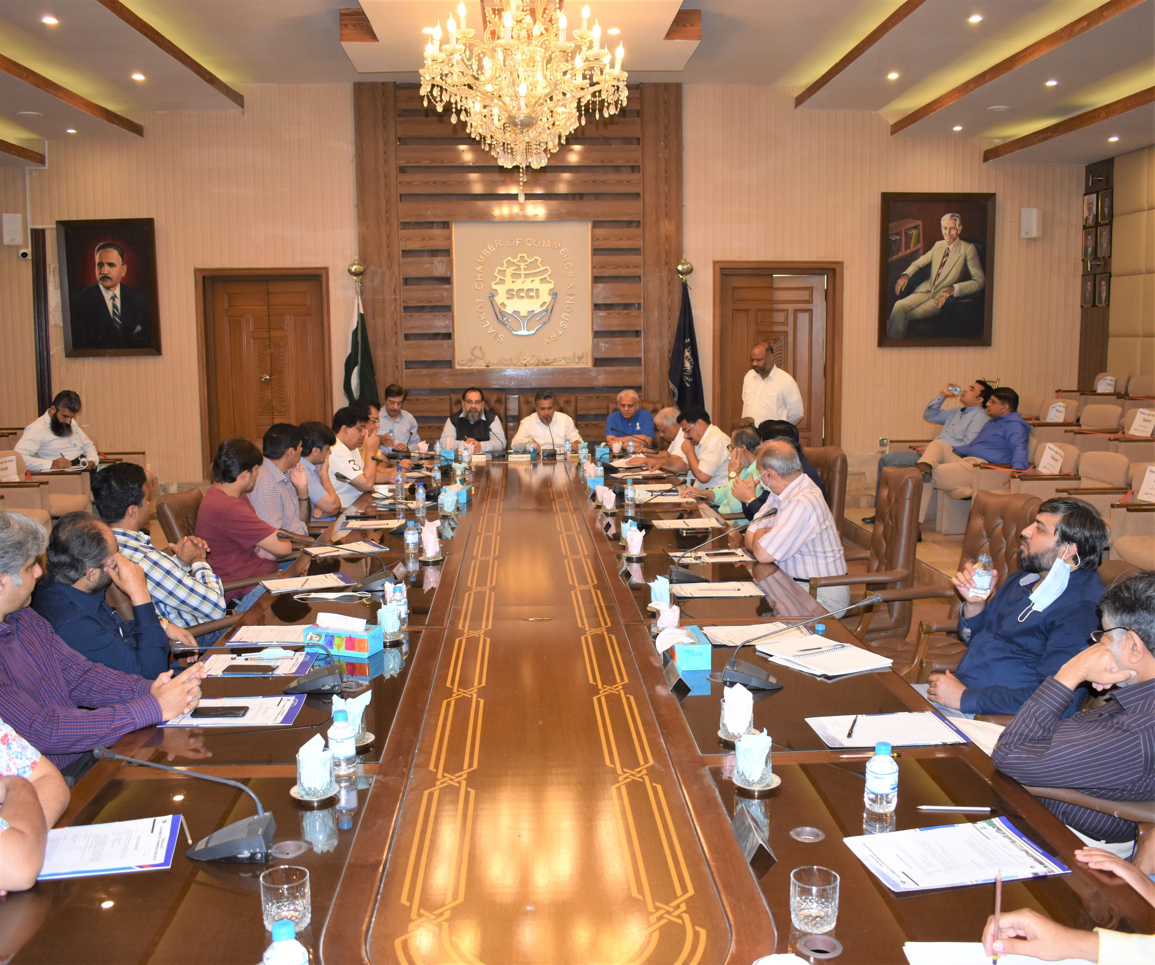 On July 05, 2021, A Joint Meeting of all Trade Bodies of Sialkot was held in Sialkot Chamber of Commerce and Industry to discuss the issue of levy of 5% Withholding Sales Tax on Export Companies against purchases from unregistered persons.  The meeting was chaired by Mr. Qaisar Iqbal Baryar, President SCCI. Wherein, he informed that SCCI and All Trade Bodies of Sialkot had been demanding its abolition for the last two years but despite all assurances, no amendment had been included in the Finance Act 2021.   Ch. Ahmed Zulfiqar Hayat, Mr. Faisal Mahboob Sheikh, Mr. Qamar Munir, Mr. Zeeshan Tariq, Mr. Ejaz A. Khokhar, Ch. Raza Munir and Members of Executive committee SCCI were also present in the meeting.