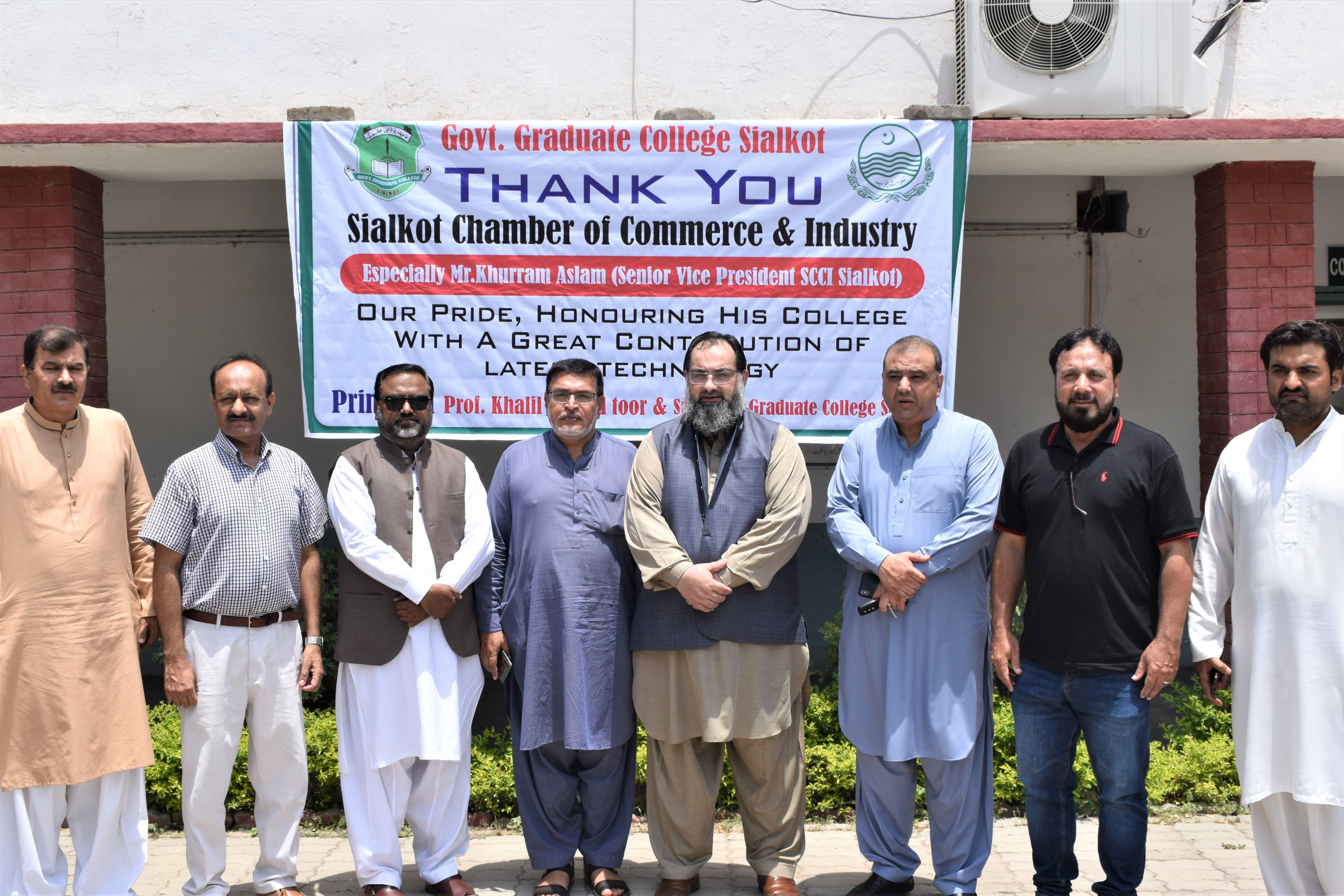 On July 06, 2021, Mr. Khuram Aslam, Senior Vice President, Sialkot Chamber of Commerce and Industry inaugurated IT Lab at the Government Graduate College Sialkot (Qila). During the IT LAB Opening ceremony, Professor Khalil Toor, Principal, Govt. College Qila Sialkot thanked SCCI for its contributions in establishment of IT lab for the students of the said College.  Mr. Bilal Dar and Sheikh Zahid Hameed, Executive Committee Members SCCI and Mr. Ejaz Ghauree were also present during the ceremony.