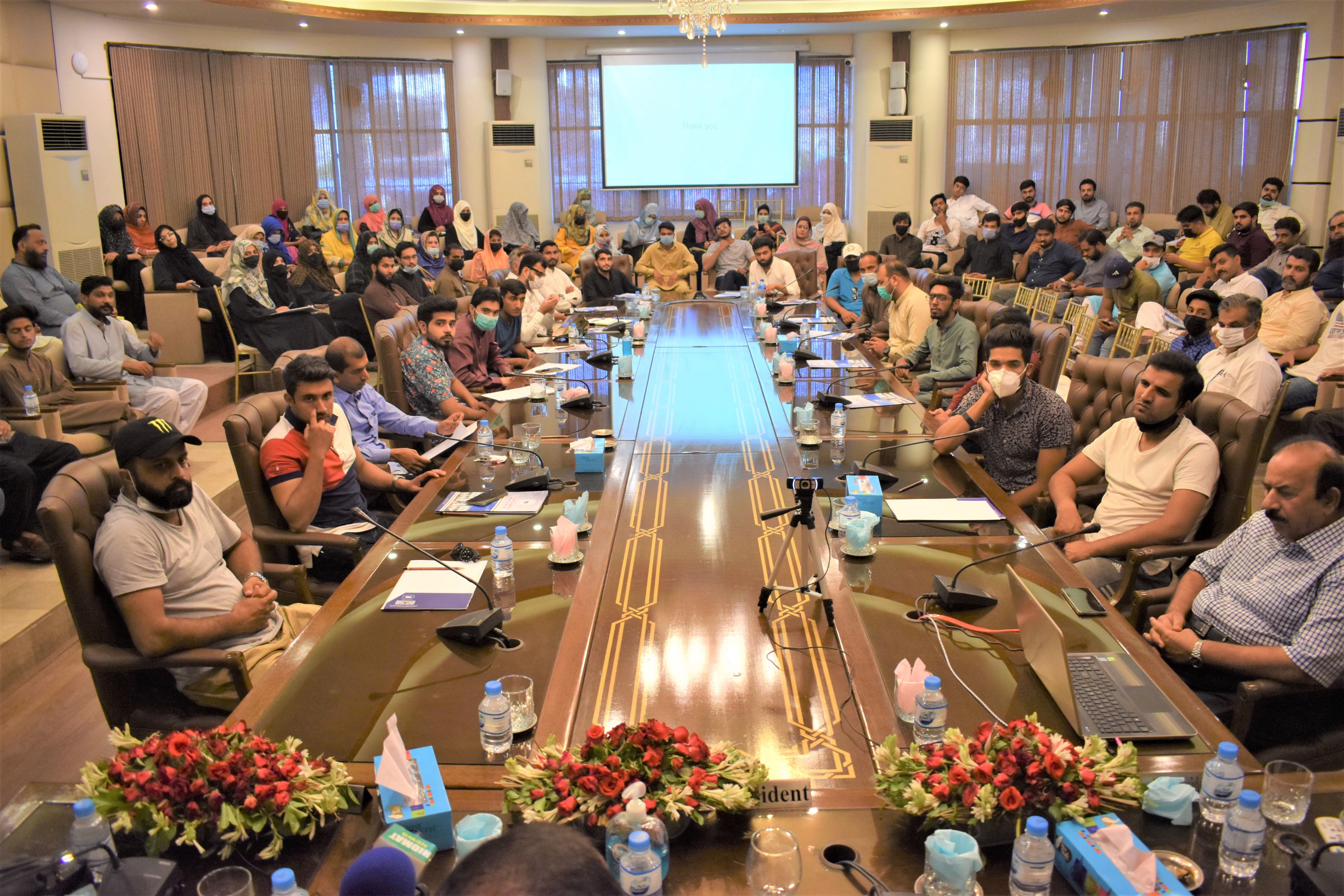 """On July 16, 2021, Mr. Khuram Aslam, Senior Vice President, Sialkot Chamber of Commerce & Industry presided over a Training session on """"COVID and Virtual Exhibitions"""".   Mian Muhammad Khalil, Chairman, Departmental Committee on Event Management & Liaison also addressed the participants.   Mr. Fizan Akbar, Chairman, SME/Training & Young Entrepreneurs briefed the audience regarding Virtual Exhibitions, SEO and E-Commerce. A Q/A session was also held at the end of Training Session."""