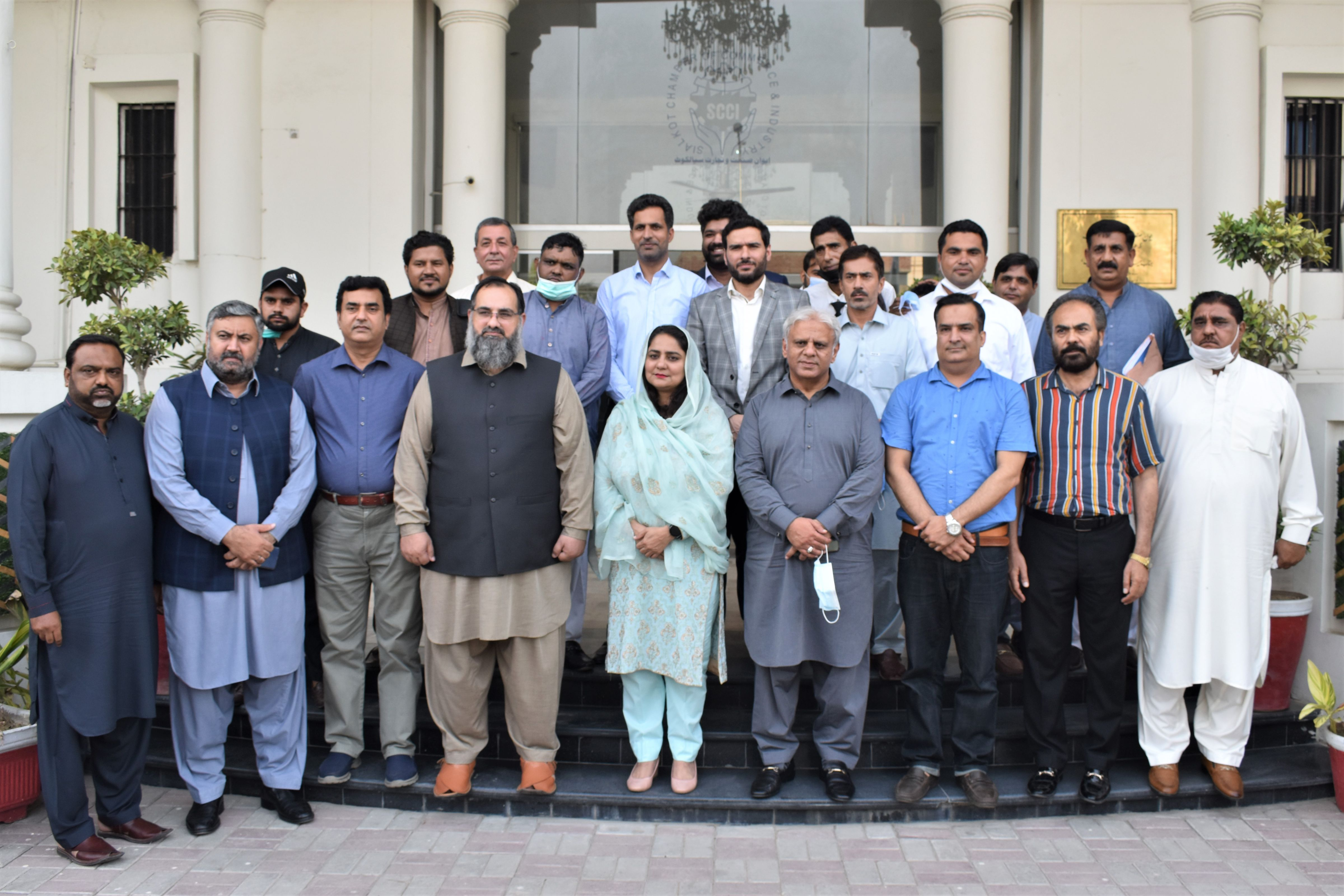 """On August 24, 2021, An awareness session on """"Benami Transactions (Prohibition) Act, 2017"""" was held at Sialkot Chamber of Commerce & Industry by Dr. Yasmeen Fatima, Commissioner Benami Zone, FBR with Mr. Khuram Aslam, Senior Vice President and Mr. Ansar Aziz Puri, Vice President, SCCI in Chair.  Executive Committee Members, SCCI and senior business community of Sialkot also participated in this session."""