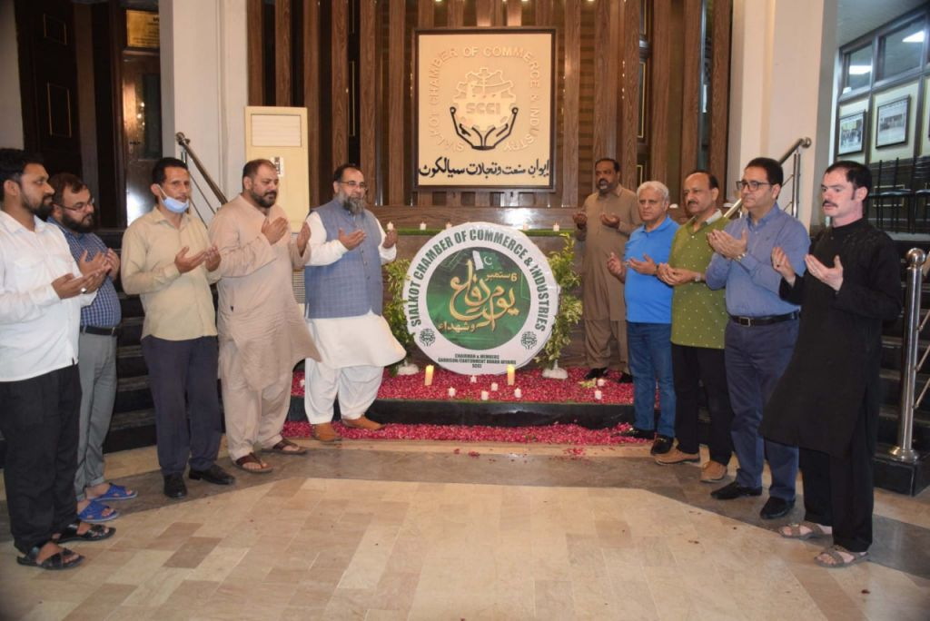 On September 05, 2021, Sialkot Chamber of Commerce & Industry celebrated the Defence Day of Pakistan to pay tribute to the martyrs who laid their lives and salute the veterans who fought to defend and uphold sovereignty and territorial integrity of Pakistan. Mr. Khuram Aslam, Senior Vice President and Mr. Ansar Aziz Puri, Vice President, SCCI lit candle lights to pay their fervent tributes and homage to the courageous armed forces who rendered great sacrifices for the nation. Mr. Sheikh Zahid Hameed, Chairman, SCCI Departmental Committee on  Garrison HQ/ Cantonment Board Affairs, Mr. Mian Muhammad Khalil, Mr. Ejaz Ghauree and Ms. Shabina Gillani  also  participated in the event overwhelmingly with great enthusiasm.