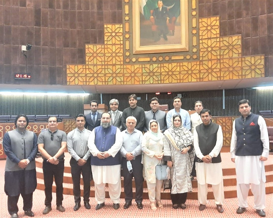 On September 16, 2021, A delegation of Sialkot Chamber of Commerce & Industry led by Mr. Khuram Aslam, Senior Vice President and Mr. Ansar Aziz Puri, Vice President, SCCI visited National Assembly of Pakistan .   During the visit, Mr. Khuram Aslam appreciated the role of the national assembly as it keeps a check on the government and ensures that the government functions within the parameters set out in the Constitution.  Mr. Asif Manzoor, Mr. Umair Mir, Mr. Muhammad Idrees, Mr. Aneel Sarfraz, Mr. Shahid Nadeem Mughal, Mr. Ali Amer Bhatti, Ms. Syeda Shabina Gillani, Mrs. Shabnam Asif, Mr. Sheikh Zohaib Rafique Sethi, Mr. Mian Asif Ali, Mr. Sheikh Faisal Naveed, Mr. Hafiz Shamas Hameed, Mr. Muhammad Sarwar, Executive Committee Members of Sialkot Chamber were also part of the said Delegation.