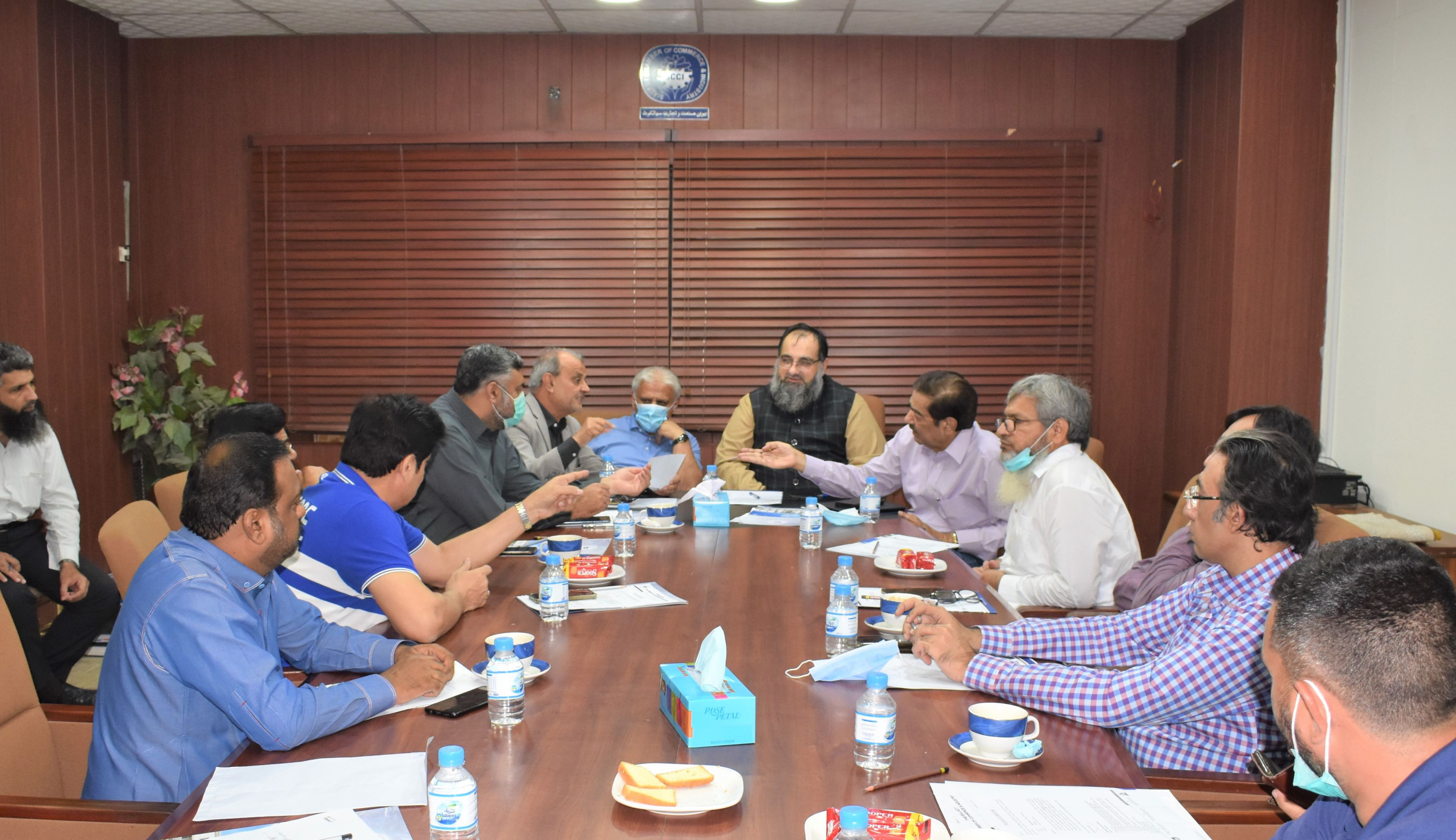 On September 09, 2021, A joint meeting of Trade Bodies of Sialkot was held at Sialkot Chamber of Commerce & Industry to finalize Purchase Formula in respect to 5% Withholding Sales Tax for submission of report to Federal Board of Revenue.   Mr. Khuram Aslam, Senior Vice President and Mr. Ansar Aziz Puri, Vice President chaired the meeting. Mr. Fazal Jilani, Chairman AirSial and prominent business community attended the meeting.