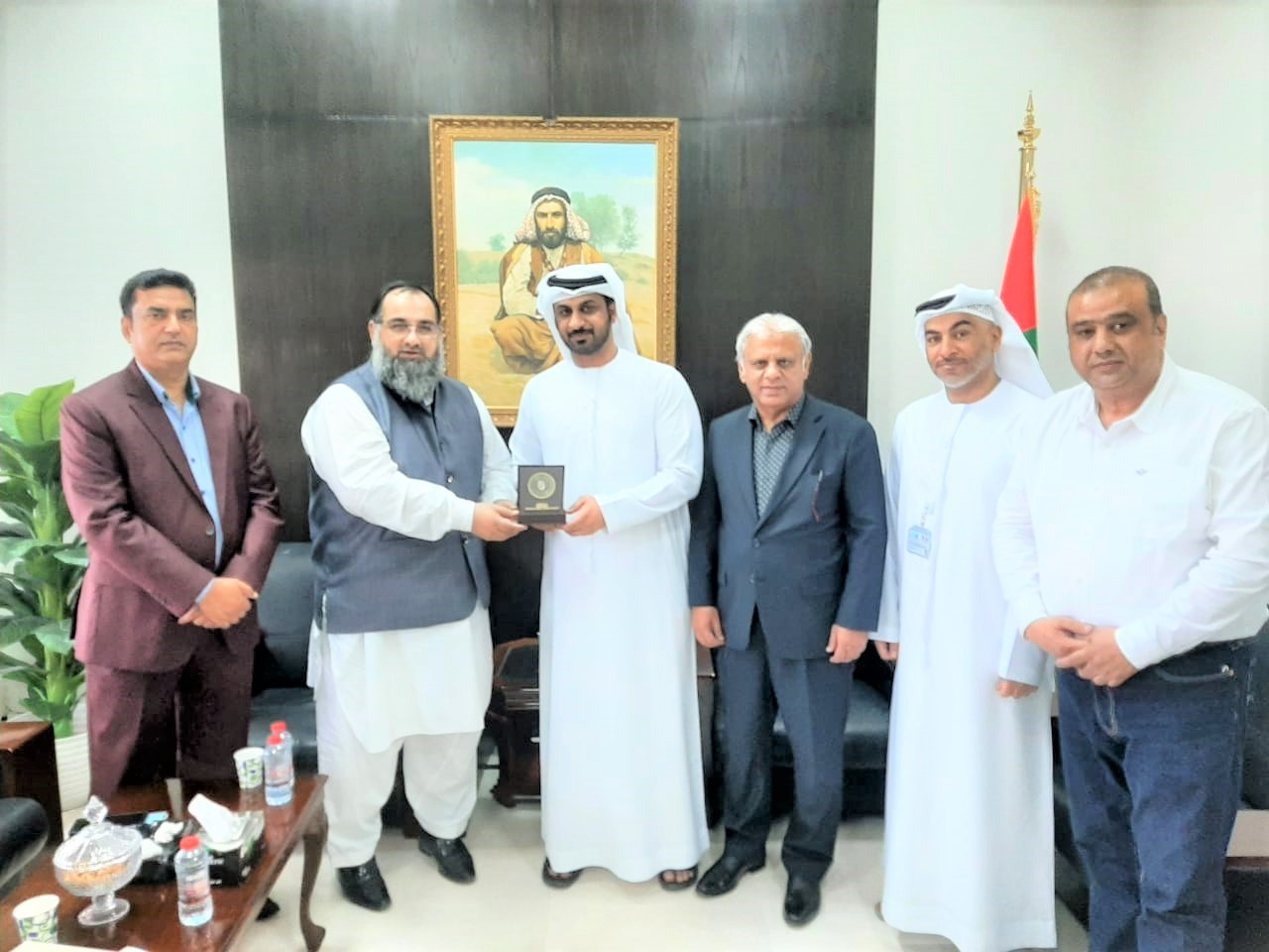 On September 07, 2021, A Delegation of Sialkot Chamber of Commerce & Industry visited the Embassy of United Arab Emirates (UAE) in Islamabad. The delegation was led by Mr. Khuram Aslam, Senior Vice President and Mr. Ansar Aziz Puri, Vice President accompanied by Mr. Mohammad Sarwar and Mr. Mohammad Bilal Dar, SCCI Executive Committee Members. The Delegates had meeting with First Secretaries, Embassy of United Arab Emirates (UAE) in Pakistan to discuss matters regarding promotion of bilateral trade between UAE and Pakistan.