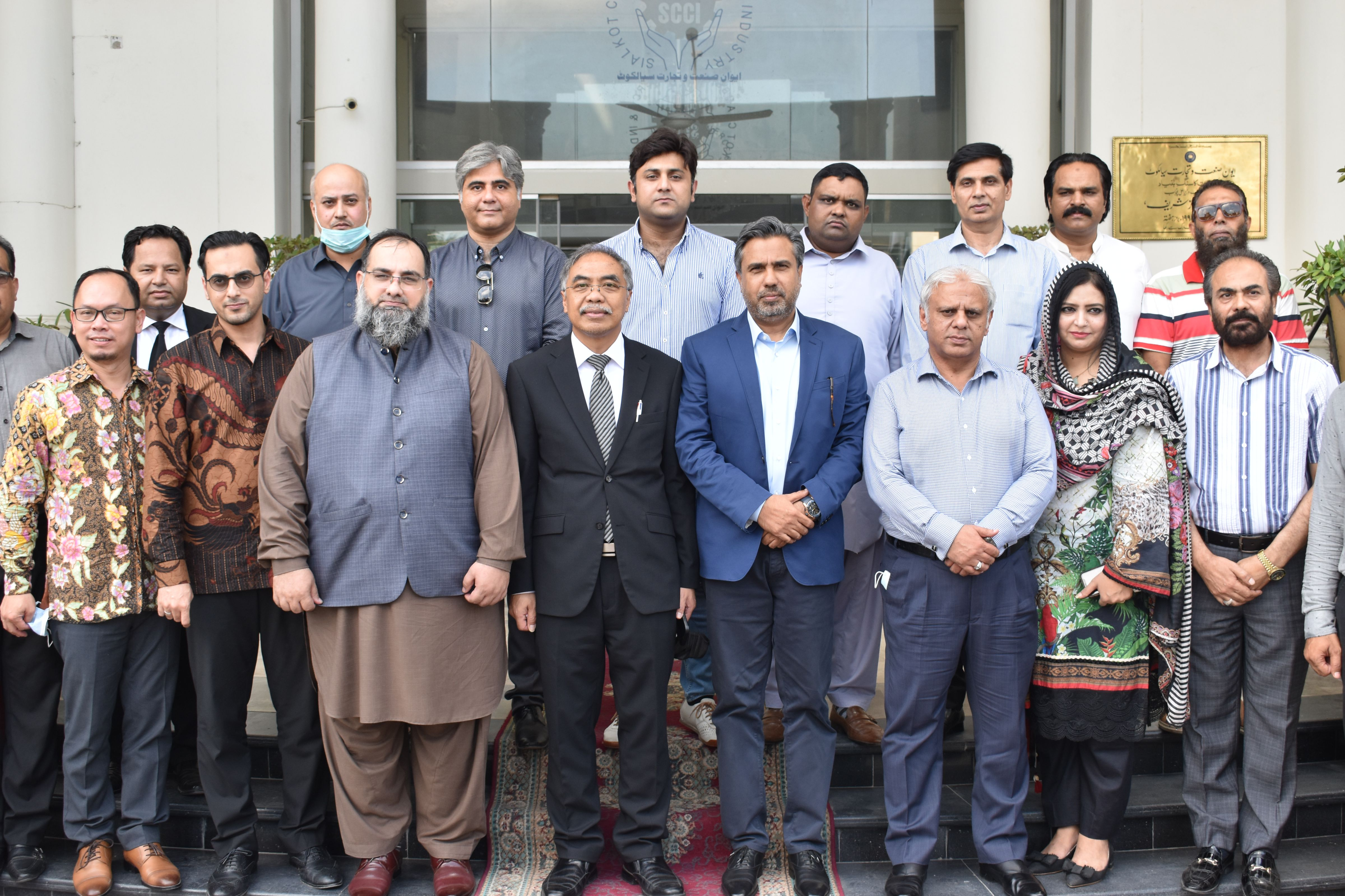 """On September 14, 2021, His Excellency Mr. Adam M. Tugio, Ambassador of Indonesia to Pakistan visited Sialkot Chamber of Commerce & Industry.   Mr. Qaisar Iqbal Baryar, President, Mr. Khuram Aslam, Senior Vice President, Mr. Ansar Aziz Puri, Vice President, Members of Executive Committee and prominent business community of Sialkot welcomed H.E. Mr. Adam. President Chamber mentioned the striving efforts from two Brotherly Islamic Countries Pakistan and Indonesia for promotion of bilateral trade relations. Mr. Qaisar Iqbal Baryar also recommended that both countries should cooperate and enter joint ventures for diversification of exports between two countries.   H.E. Mr. Adam expressed his gratitude for the esteemed welcome from business community of Sialkot and appreciated the potential of """"Made in Sialkot"""" products."""