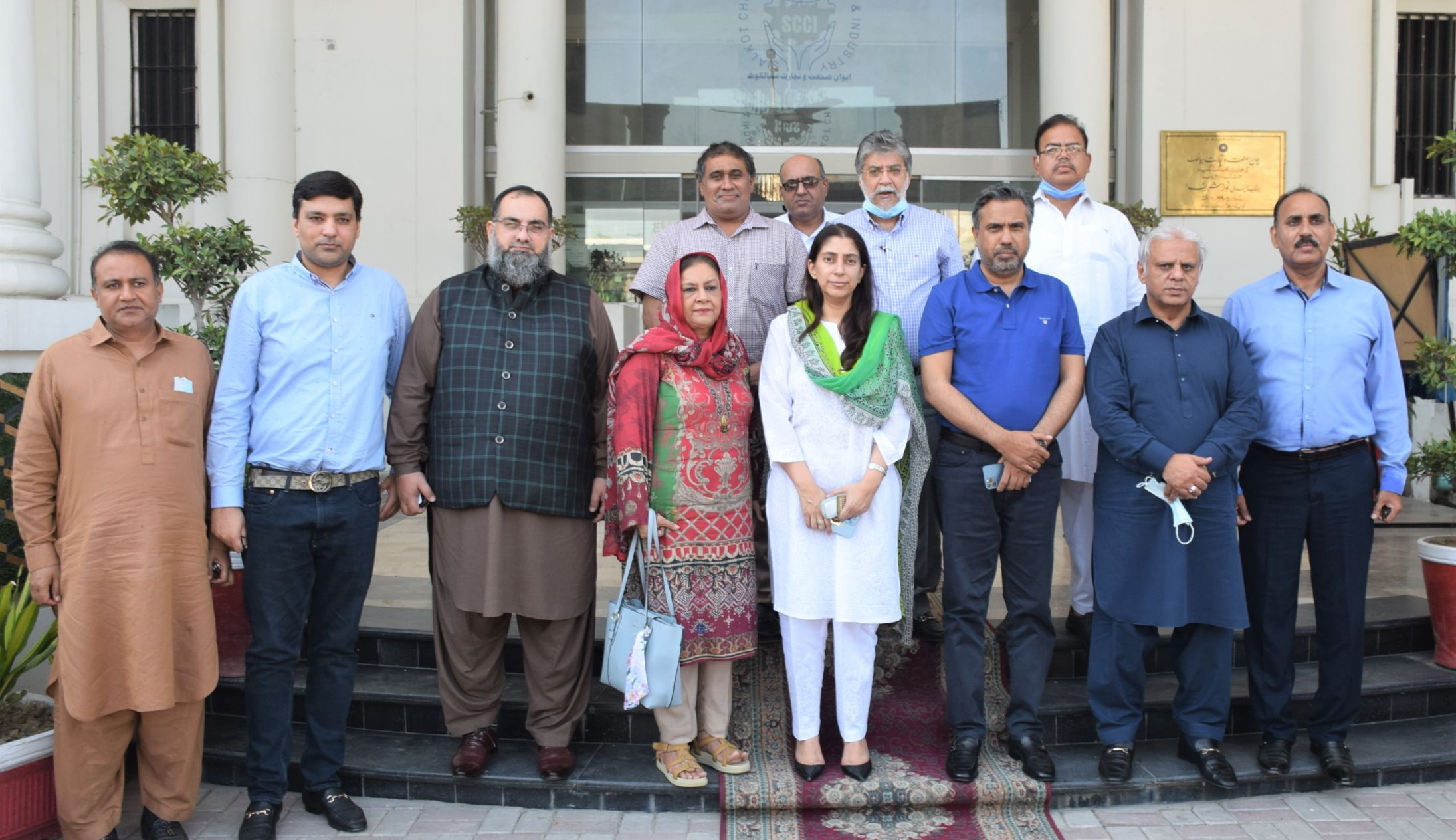 On September 15, 2021, Ms. Ambreen Ahmed Tarar, Collector, Collectorate of Customs Sialkot visited Sialkot Chamber of Commerce & Industry.  Mr. Qaisar Iqbal Baryar, President, Mr. Khuram Aslam, Senior Vice President, Mr. Ansar Aziz Puri, Vice President SCCI, Former Office bearers SCCI and  Members of Executive Committee SCCI welcomed Ms. Ambreen Tarar. Mr. Qaisar Iqbal Baryar, President Sialkot Chamber explained the role of the Sialkot Business Community in strengthening the Exports of the Country. The President mentioned some matters related to Temporary Export Facilitation Scheme, Implementation of single audit procedures and Integration of Sialkot Custom Collectorate with other Customs Collectorates. Ms. Ambreen Ahmed Tarar, Collector, Collectorate of Customs Sialkot thanked President Sialkot Chamber and all the participants of the meeting and assured every possible effort from Sialkot Customs Collectorate  to resolve the issues creating hurdles in uplift the exports of the country.