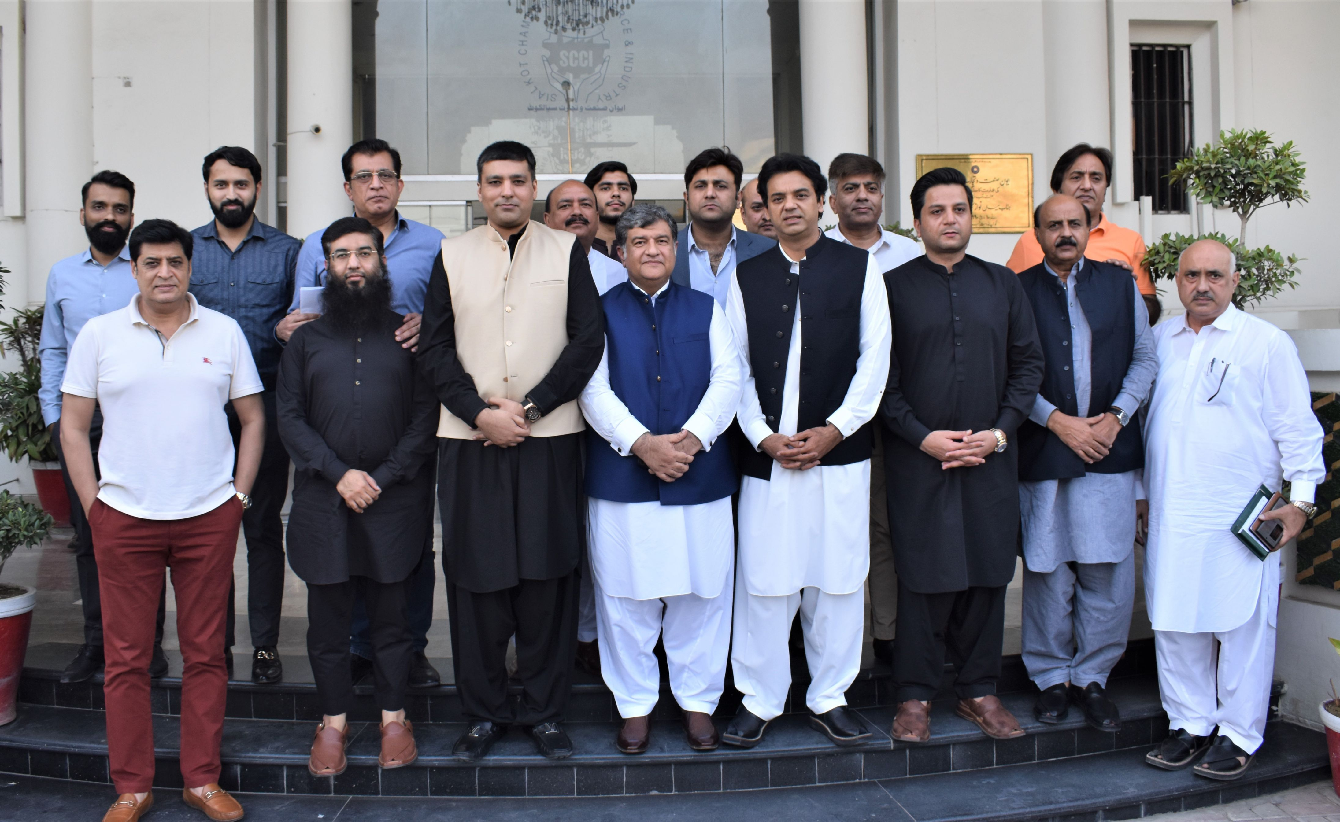 On October 16, 2021, Mr. Usman Dar, Special Assistant to the Prime Minister on Youth Affairs and Ch Muhammad Akhlaq, Provincial Minister of Punjab for Special Education visited Sialkot Chamber of Commerce & Industry and had a meeting with President, Senior Vice President and Vice President, SCCI to discuss matters related to Industry of Sialkot.
