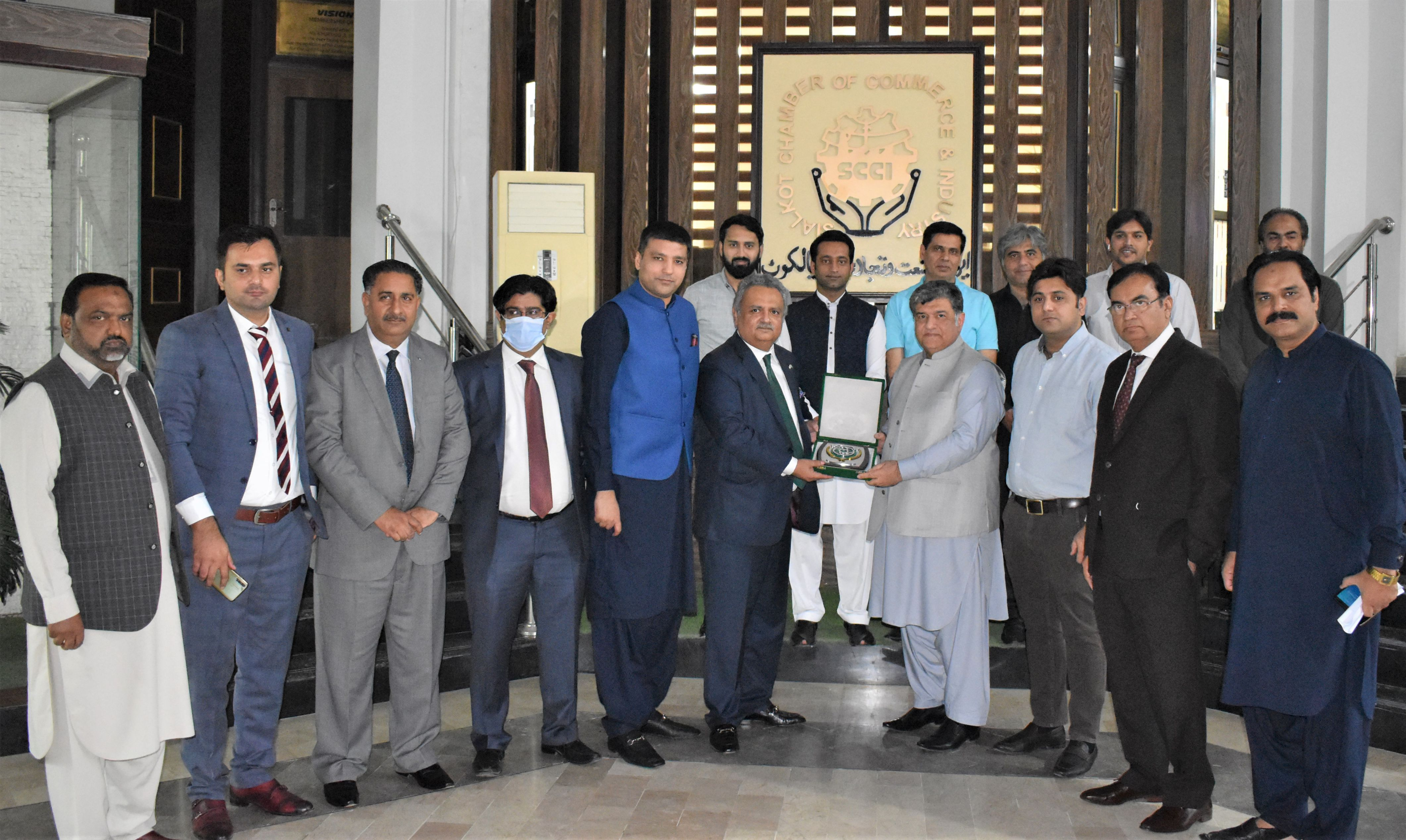 On October 14, 2021, A delegation of the National Bank of Pakistan led by Mr. Rehmat Ali Hasnie, Group Chief, Inclusive Development Group (NBP) visited The Sialkot Chamber of Commerce & Industry. The delegates had a meeting with the President, Senior Vice President, Vice President and business community of Sialkot to explore all potential areas of mutual cooperation and to build up close liaison between NBP and Business Community of Sialkot.