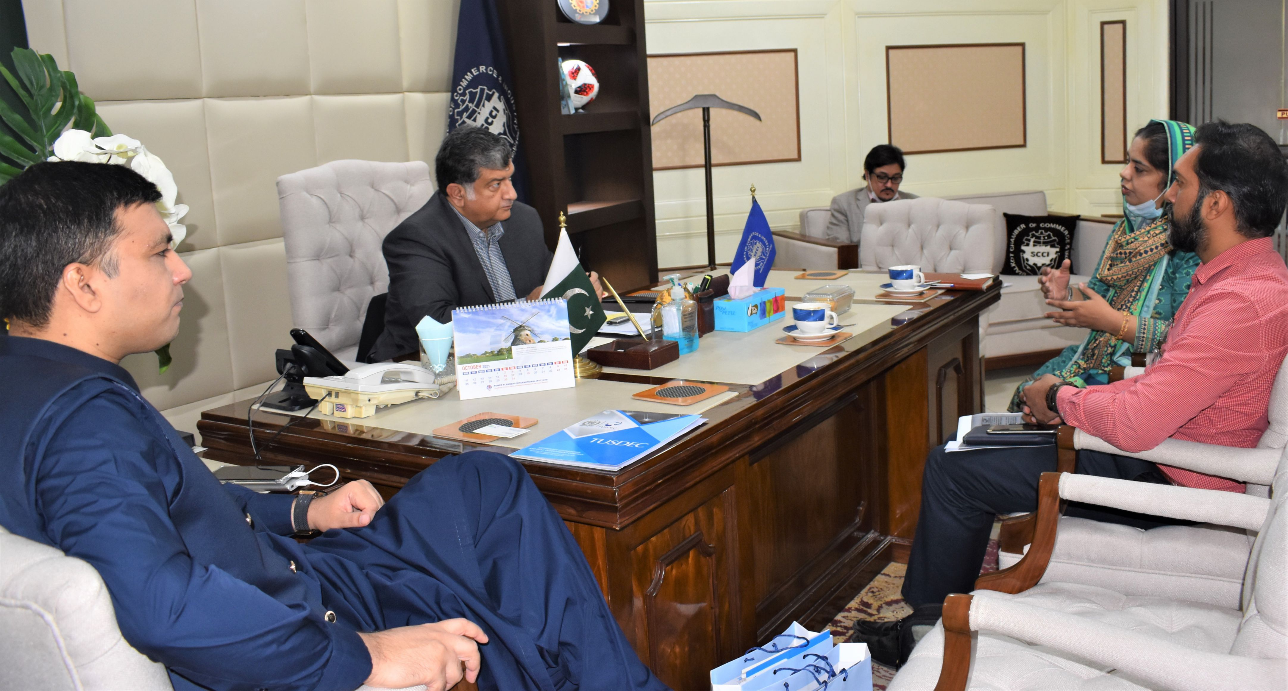 On October 27, 2021, Ms. Sadia Masood, Project Director, PMU Technology Upgradation and Skills Development Company (TUSDEC) called on President, Sialkot Chamber of Commerce & Industry to discuss various projects related to Industry of Sialkot.