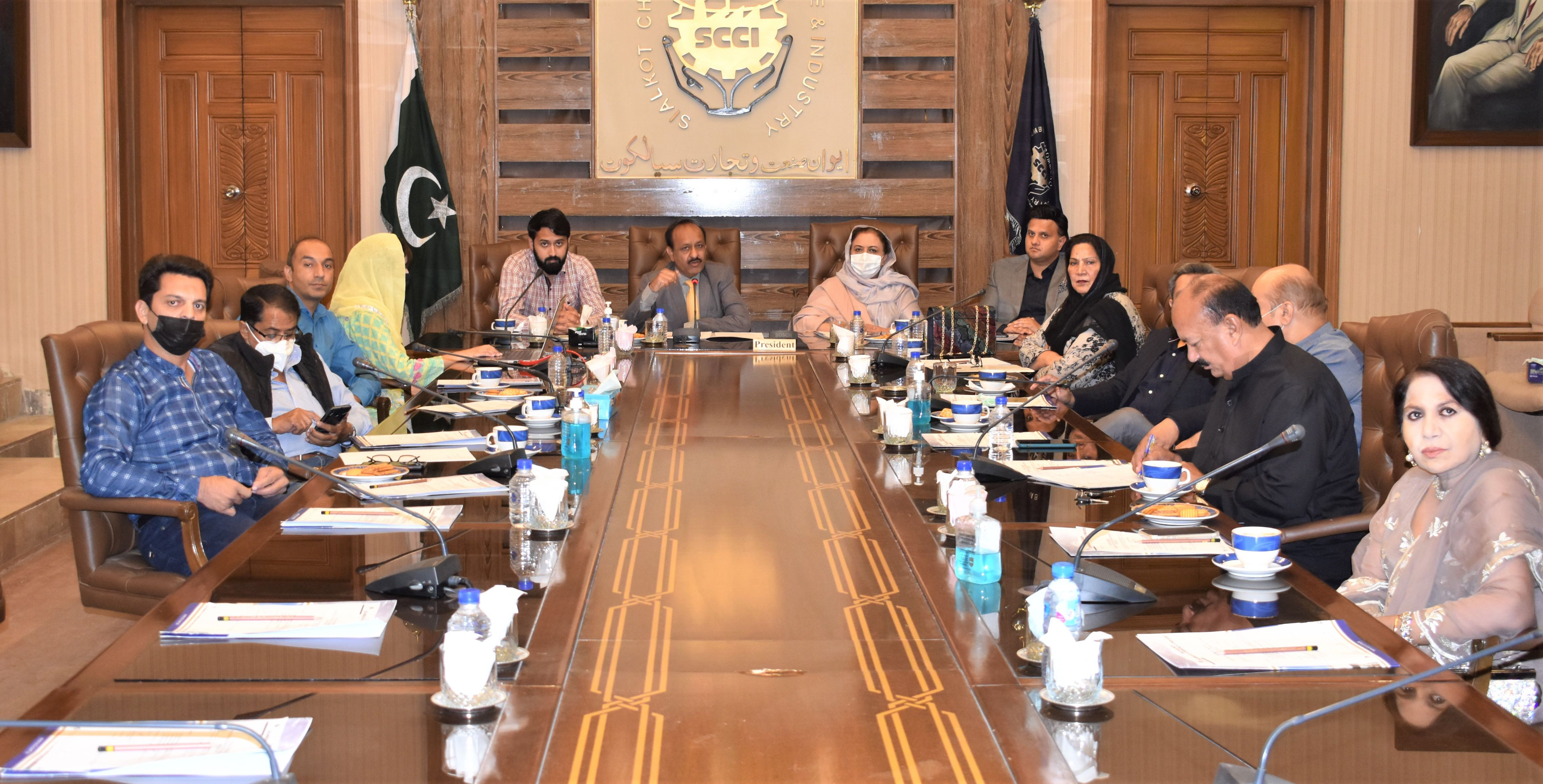 On October 23, 2021, Departmental Committee on Garrison HQ/ Cantonment Board Affairs held its 1st meeting of the Tenure 2021-22. Mr. Sheikh Zahid Hameed, Chairman, Cantonment Committee gave a presentation on projects initiated by the Cantonment committee to facilitate the Community and SCCI Members. Discussion was held to complete the existing projects as well as to take some new steps for further developments under the scope of this committee.