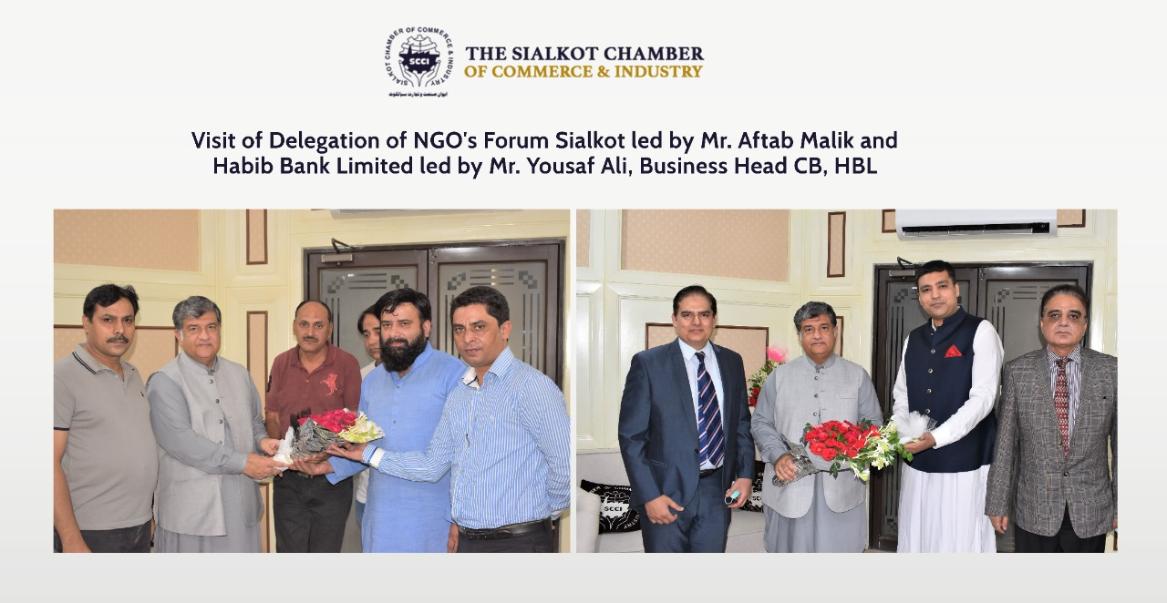 On October 20, 2021, A Delegation of NGO's Forum Sialkot led by Mr. Aftab Malik and  A delegation of Habib Bank Limited led by Mr. Yousaf Ali, Business Head CB, HBL visited Sialkot Chamber of Commerce & Industry and congratulated the President, Senior Vice President and Vice president on assuming the charge as Office Bearers of SCCI.